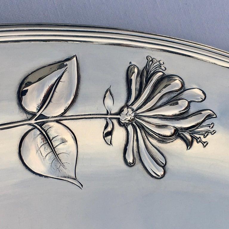 Silver Serving Platter, Art Nouveau, M.H. Wilkens & Söhne, Bremen, Germany, 1899 For Sale 1
