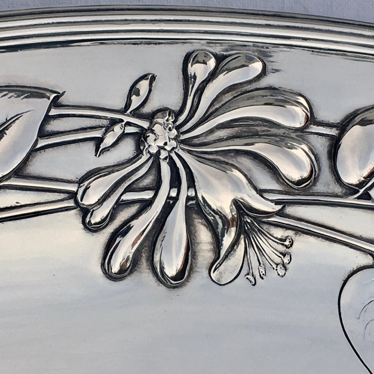 Silver Serving Platter, Art Nouveau, M.H. Wilkens & Söhne, Bremen, Germany, 1899 For Sale 2