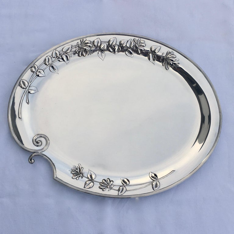 Silver Serving Platter, Art Nouveau, M.H. Wilkens & Söhne, Bremen, Germany, 1899 For Sale 5