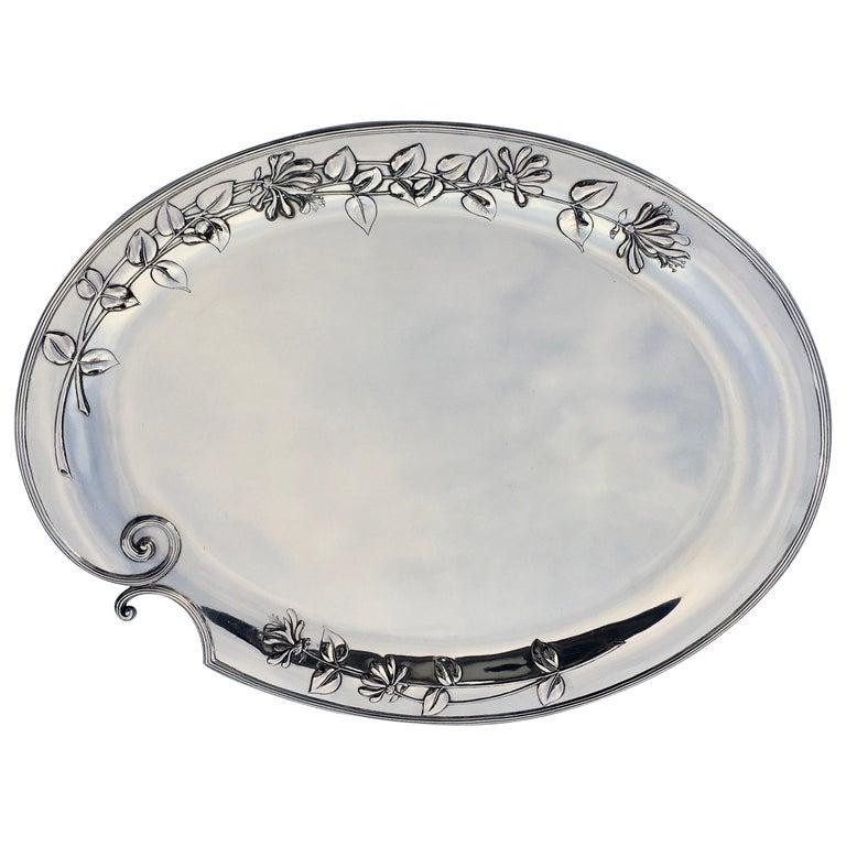 Silver Serving Platter, Art Nouveau, M.H. Wilkens & Söhne, Bremen, Germany, 1899 For Sale