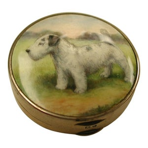 Silver Powder Box with Iridescent Enamelled Terrior Dog Scene, Birmingham 1929