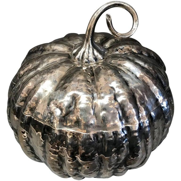 Silver Pumpkin with Glass Dish by Mario Buccellati, circa 1950 Stamped M. Bucc