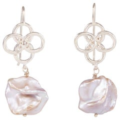 Silver Quatrefoil Freshwater Pearl Earrings