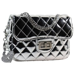 Silver Quilted Purse with Keychain