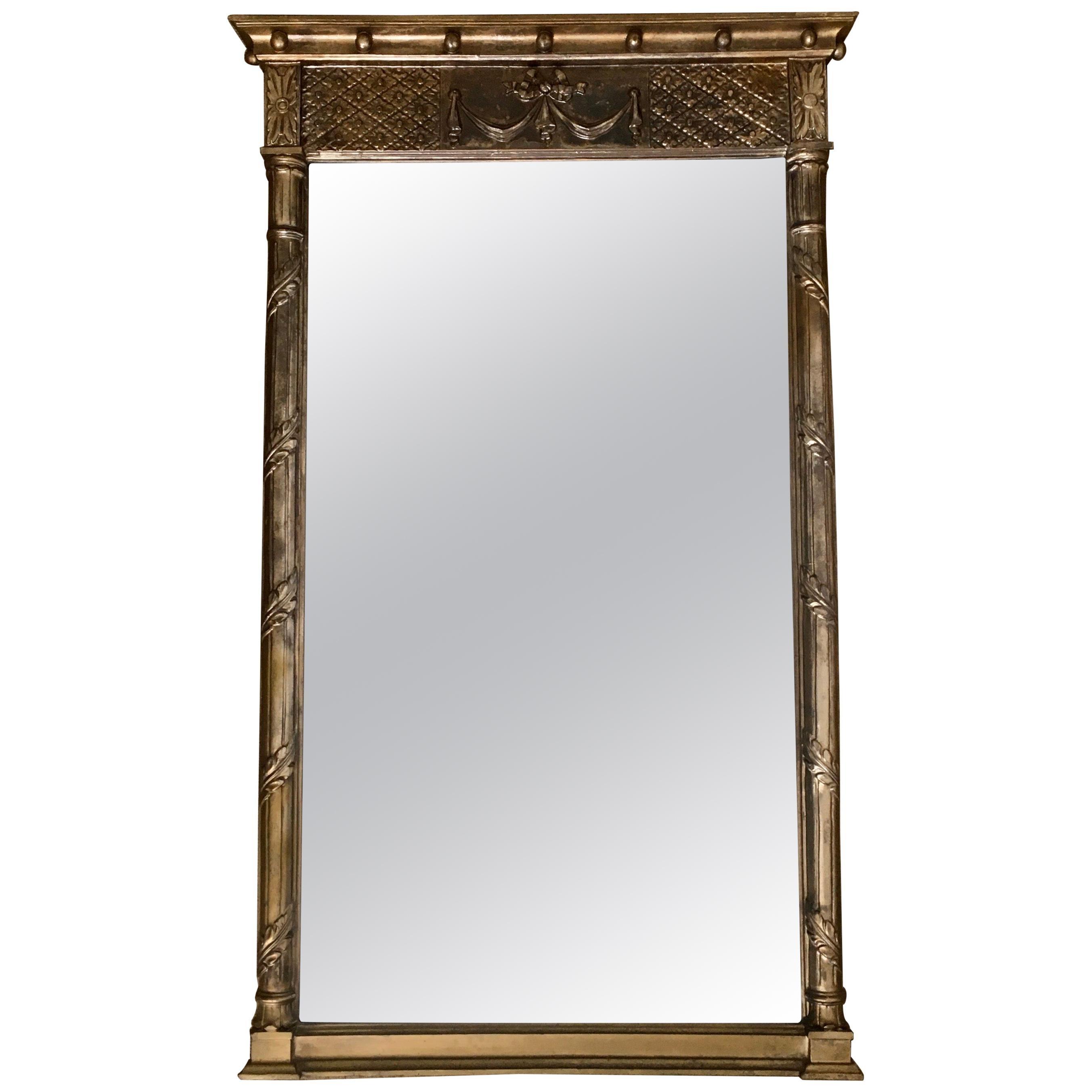 Silver Regency Style Draped Pier Beveled Wall Mirror