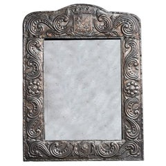 Silver Repoussé Prince of Wales Swiss Stamped Julien Lehmann Framed Mirror