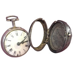 Late 18th Century Silver Pear Shaped Repousse Verge Fusee Pocket Watch