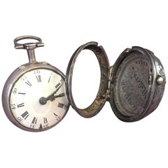 Silver Repousse Verge Fusee Pocket Watch