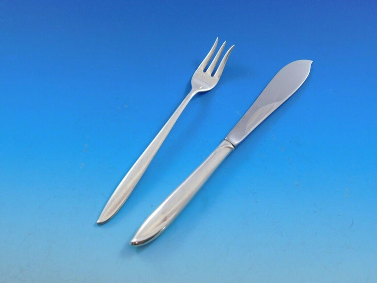 Silver Rhythm by International Sterling Silver Flatware Set 12 Service 56 Pieces For Sale 5