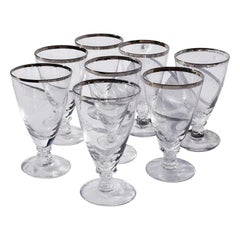 Silver Rimmed Cocktail Glasses 8 Attributed to Dorothy Thorpe