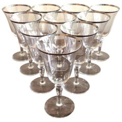 Silver Rimmed Wine Glasses, Set of 10