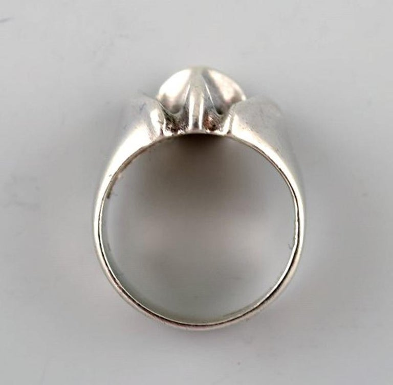 Silver ring from Lapponia, Finland. Vintage modernist ring in sterling silver, handmade. 1960 s. Stamped. Measures 16 mm. Size 5,5 (USA). Our jeweler can adjust to any size for an additional $50.
