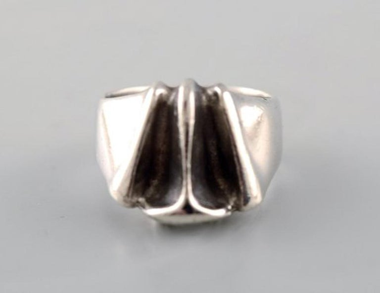 Silver Ring from Lapponia, Finland, Vintage Modernist Ring in Sterling Silver In Good Condition For Sale In bronshoj, DK