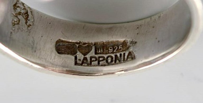 Women's Silver Ring from Lapponia, Finland, Vintage Modernist Ring in Sterling Silver For Sale