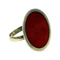 Vintage Silver Ring with a Big Red Round Plate, 1970s