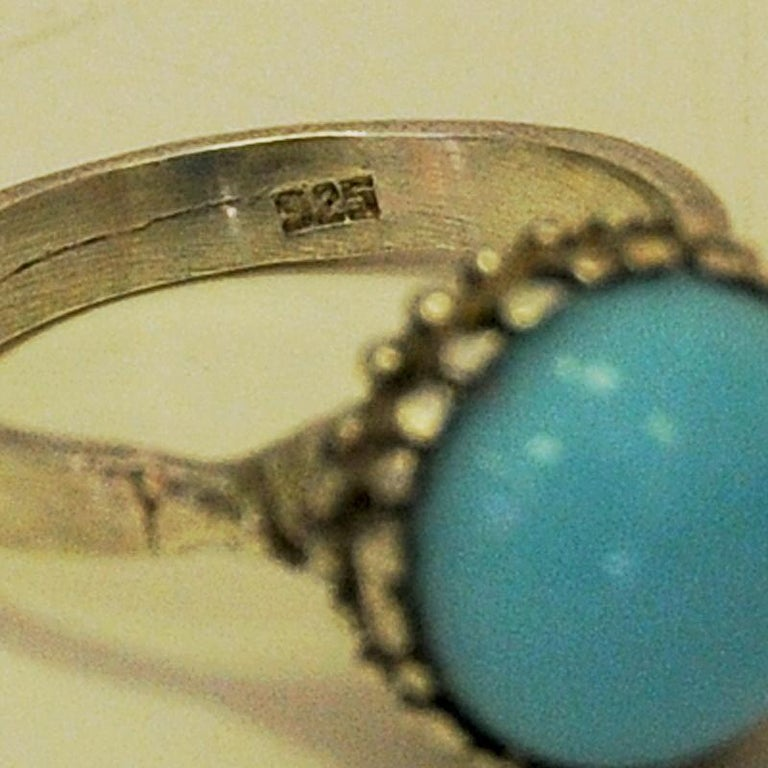Mid-Century Modern Silver Ring with Light Blue Stone 1950s, Scandinavia For Sale