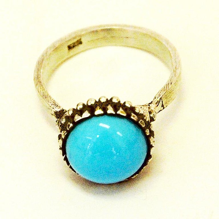 Scandinavian Silver Ring with Light Blue Stone 1950s, Scandinavia For Sale