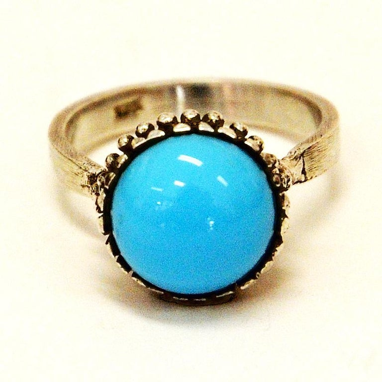 Silver Ring with Light Blue Stone 1950s, Scandinavia In Good Condition For Sale In Stockholm, SE