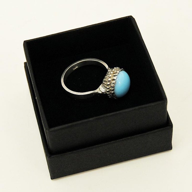 Mid-20th Century Silver Ring with Light Blue Stone 1950s, Scandinavia For Sale