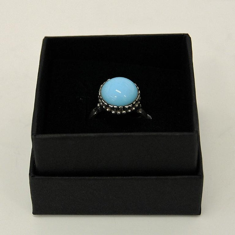 Silver Ring with Light Blue Stone 1950s, Scandinavia For Sale 1