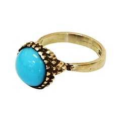 Silver Ring with Light Blue Stone 1950s, Scandinavia