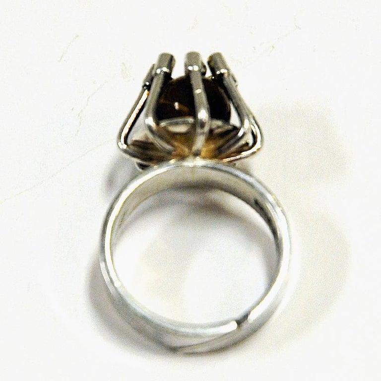 Scandinavian Modern Silver Ring with Middle Tigereye Stone by Arvo Saarela, Sweden, 1974 For Sale