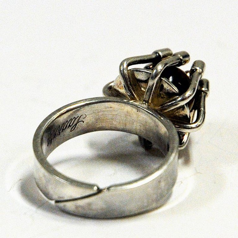 Swedish Silver Ring with Middle Tigereye Stone by Arvo Saarela, Sweden, 1974 For Sale