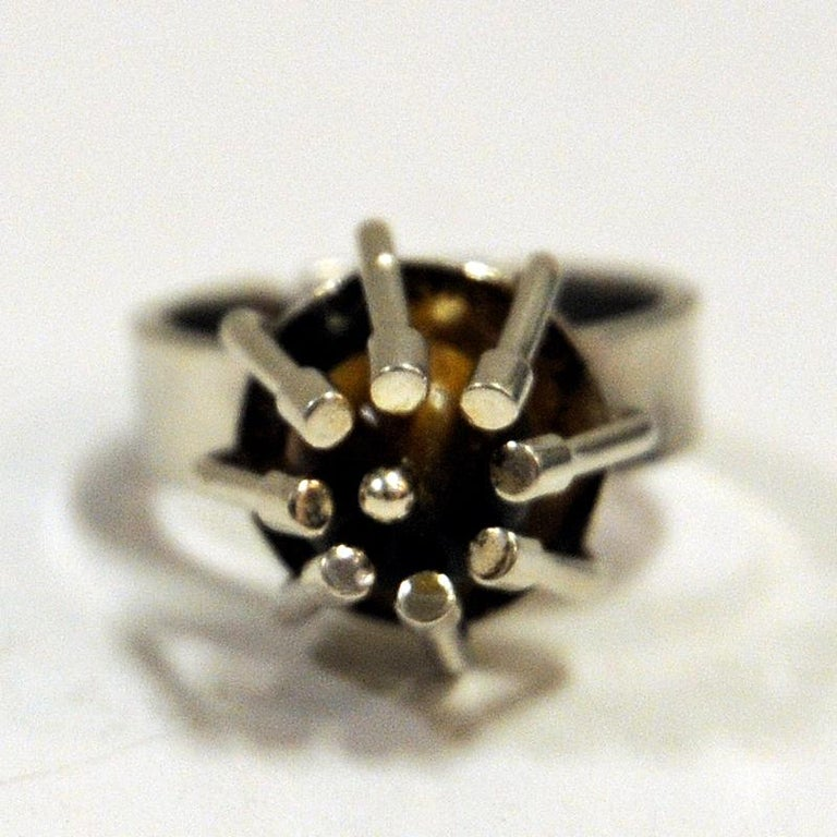 Silver Ring with Middle Tigereye Stone by Arvo Saarela, Sweden, 1974 In Good Condition For Sale In Stockholm, SE
