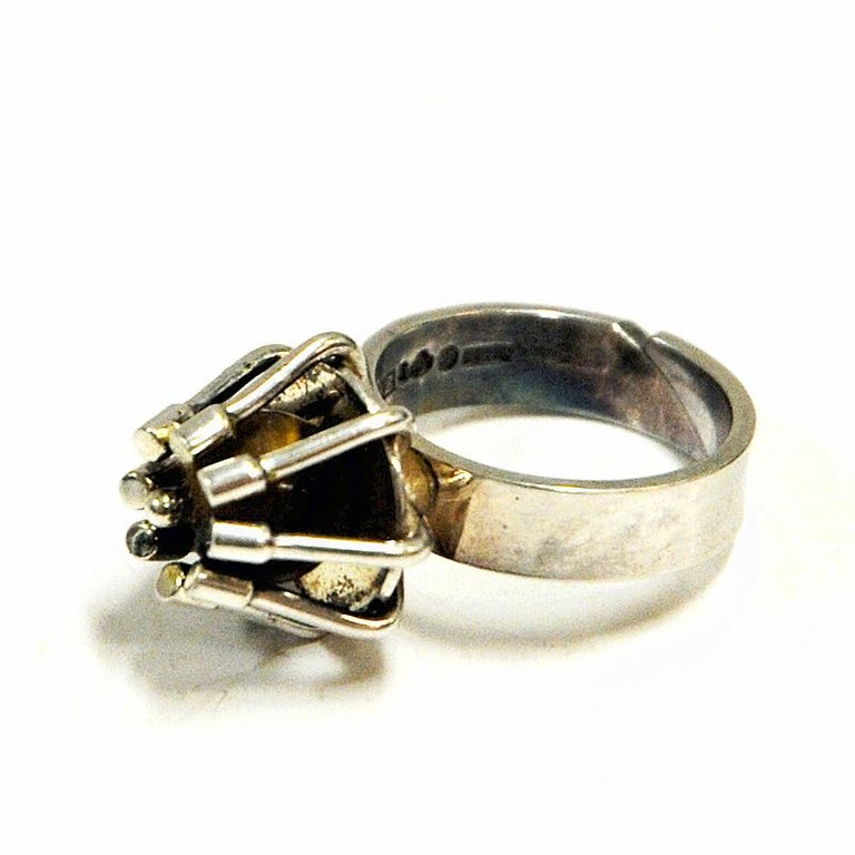 Late 20th Century Silver Ring with Middle Tigereye Stone by Arvo Saarela, Sweden, 1974 For Sale