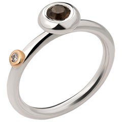 Silver Ring with Smoky Quartz, Zircon and Gold Detail - Ready to Ship