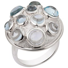 Silver Ring with Ten Topaz Gemstones Modern and Stylish