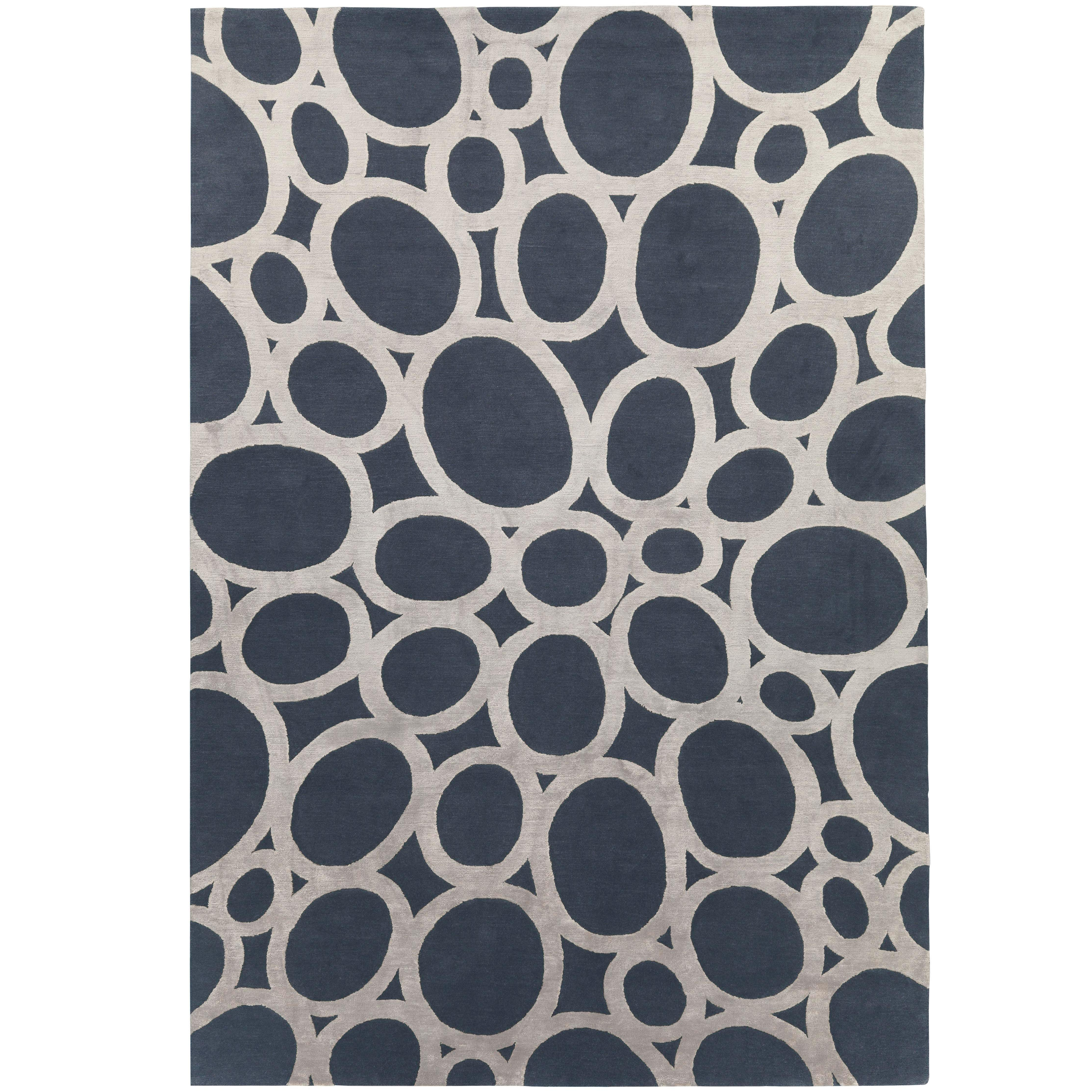 Silver Rings Hand-Knotted 10x8 Rug in Wool and Silk by David Rockwell