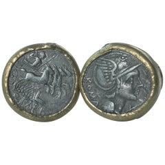Silver Roman Coins 22-21 Karat Gold Cufflinks with Diamonds Cufflinks 18 Karat