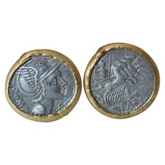 Silver Roman Coins 22-21 Karat Gold Cufflinks with Diamonds Cufflinks 18 Karat