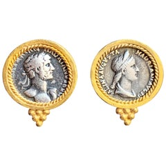 Silver Roman Coins 24 Karat Gilded Earrings with Emperor Hadrian and Sabina