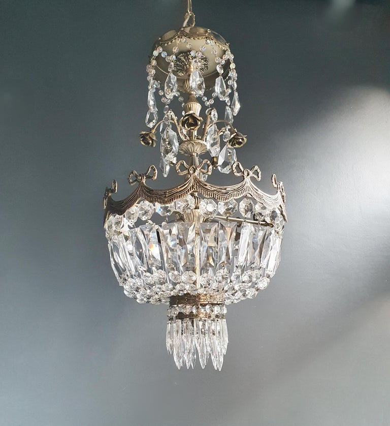 Silver rose brass crystal chandelier antique ceiling lamp lustre Art Nouveau
