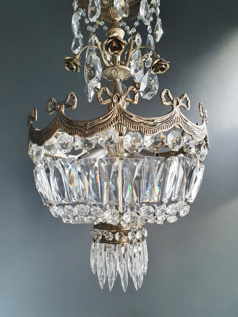 Hand-Knotted Silver Rose Brass Crystal Chandelier Antique Ceiling Lamp Lustre Art Nouveau For Sale