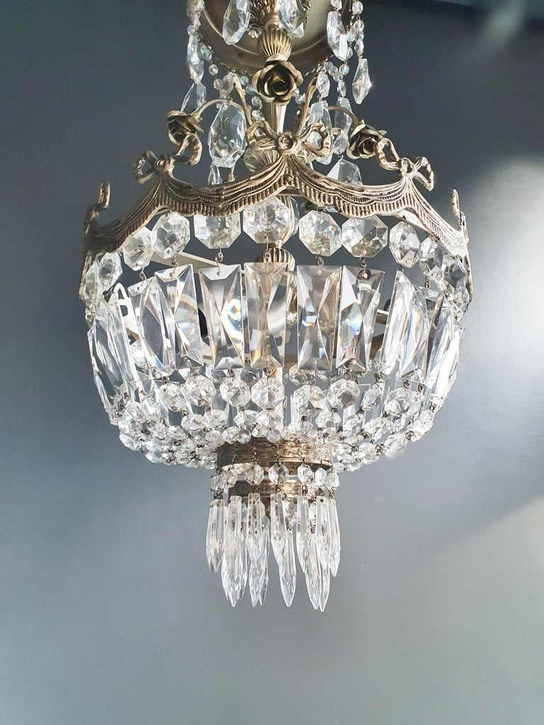Silver Rose Brass Crystal Chandelier Antique Ceiling Lamp Lustre Art Nouveau In Good Condition For Sale In Berlin, DE