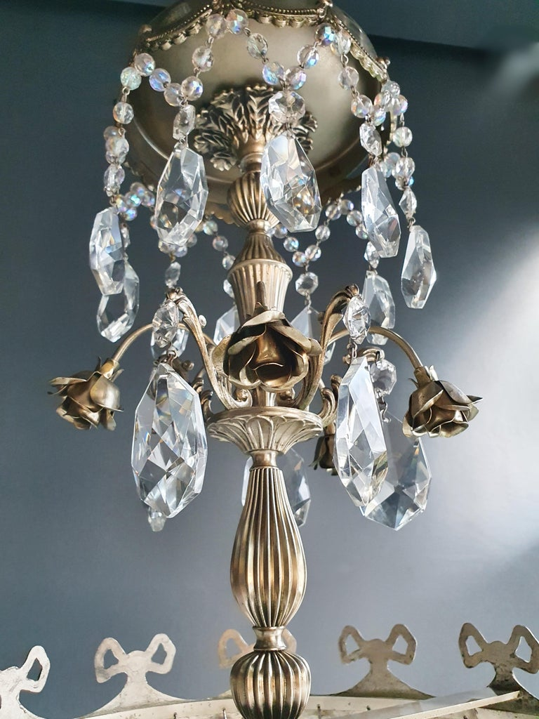 Mid-20th Century Silver Rose Brass Crystal Chandelier Antique Ceiling Lamp Lustre Art Nouveau For Sale