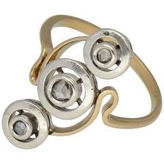Silver Rose Gold Diamond Antique Ring
