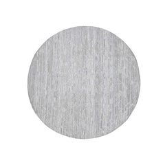 Silver Round Hand Spun Undyed Natural Wool Modern Hand Knotted Rug