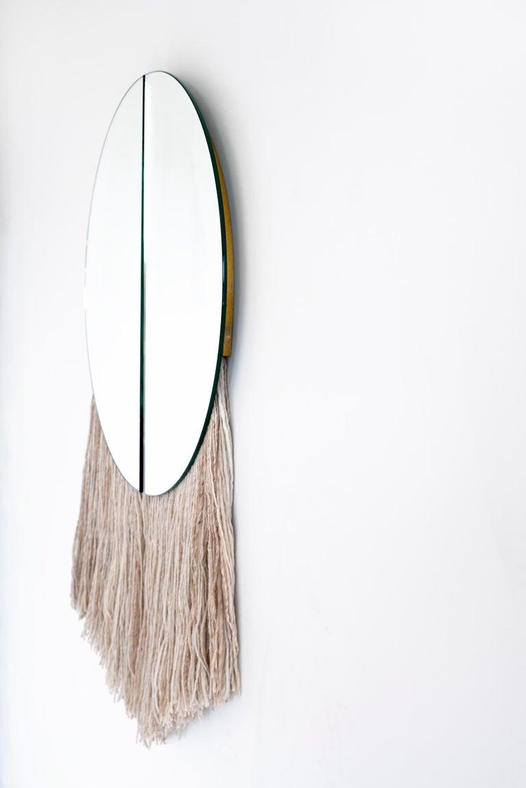 American Silver Round Mirror with Fiber, Contemporary Apollo Mirror by Ben & Aja Blanc For Sale