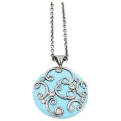 Silver Round Pendant with Turquoise Color Enamel White Topaz Blue Topaz
