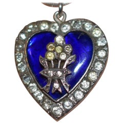 Silver Royal Blue Enamel and Paste Heart Pendant with Bouquet, circa 1860