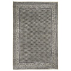 Silver Sarouk Mir Wool and Silk Hand Knotted Oriental Rug