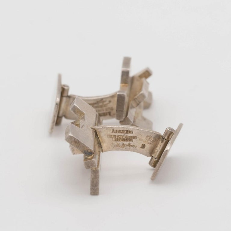 Silver Sculptural Modernist Silver Cufflinks by Rey Urban for Age Fausing, 1972 In Good Condition For Sale In London, GB