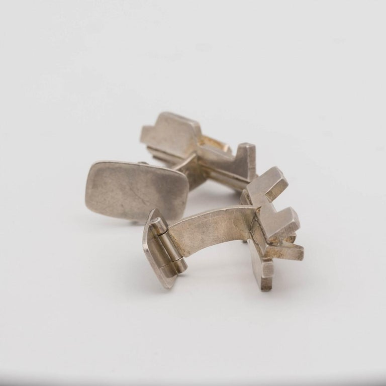 Sterling Silver Silver Sculptural Modernist Silver Cufflinks by Rey Urban for Age Fausing, 1972 For Sale
