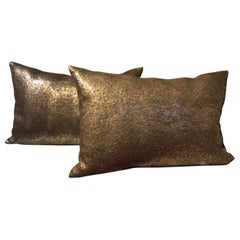 Silver Sequined Cushions Rectangular Hand Embroidery on Silk Color Peppercorn