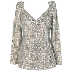 Silver sequined lace evening tunic Valentino