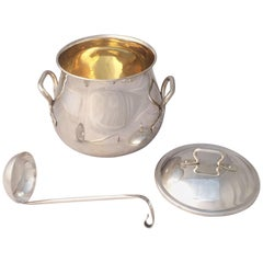 Silver Serving Bowl or Tureen with Lid and Ladle from France
